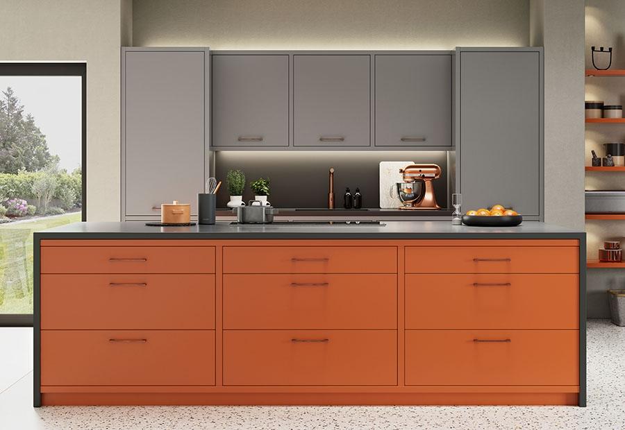 Zola Matte Kitchen In Zingy Orange Dust Grey