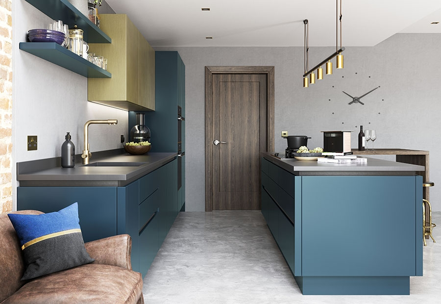 Contemporary kitchen featuring Zola Matte & Ferro brass doors