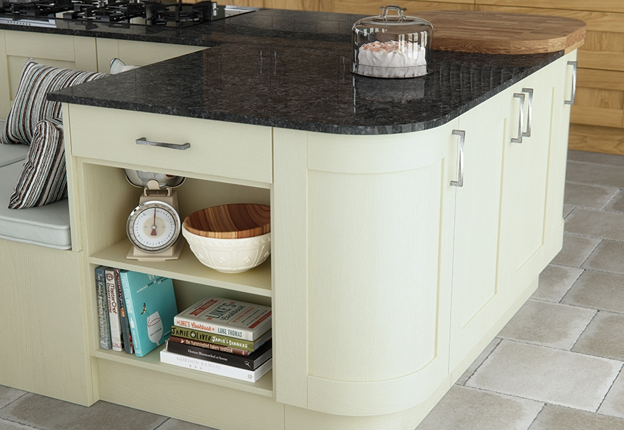Madison Painted Ivory Kitchen Island With Curved Doors
