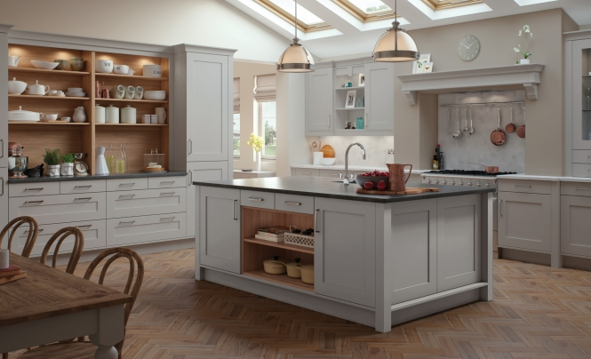 Contemporary Classic Georgia Kitchen In Light Grey