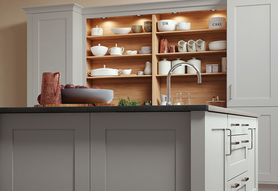 Modern Contemporary Georgia Painted Light Grey Kitchen Featuring Island Unit & Open Shelving