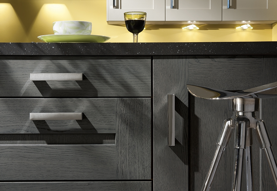 Modern Contemporary Clonmel Oak Drawers in Stained Anthracite with Modern Chrome Bar Handles