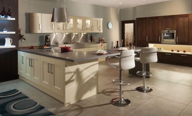 Modern Contemporary Clonmel Oak kitchen in a wenge stain and painted cream