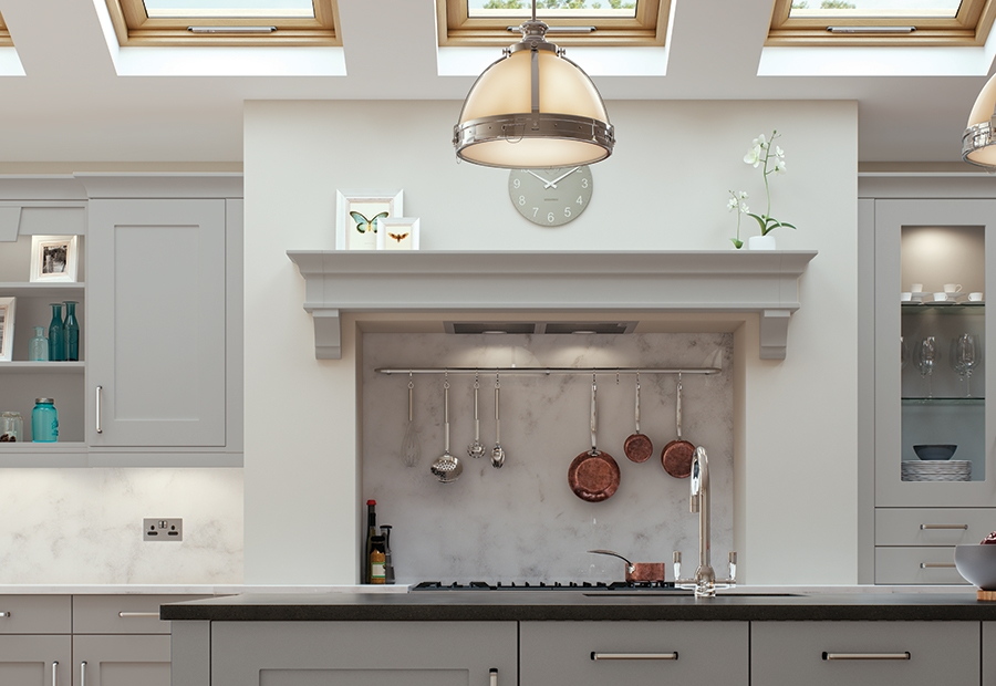 Contemporary Georgia Kitchen in Light Grey Featuring Overmantle Shelf
