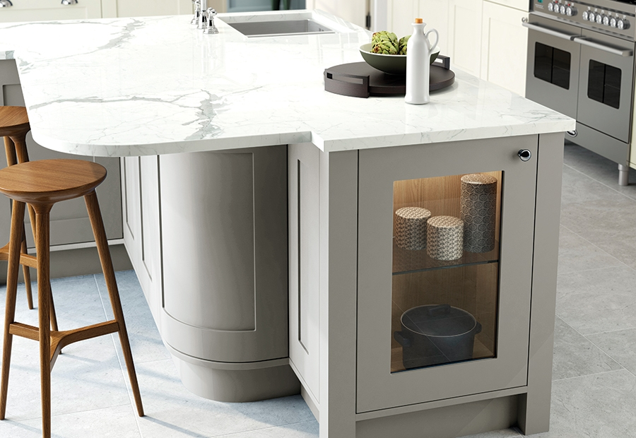 Contemporary Georgia Kitchen Island Unit in Painted Stone