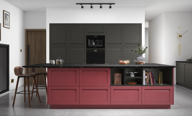 Modern Harborne Graphite & Chicory Red Kitchen