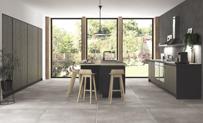 Kelso Stained Truffle Grey & Zola Matte Graphite Modern Kitchen