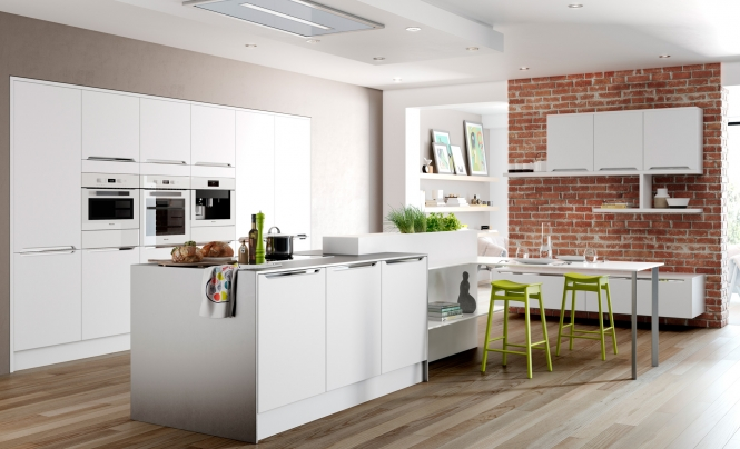 Modern Contemporary Olympia matte white kitchen