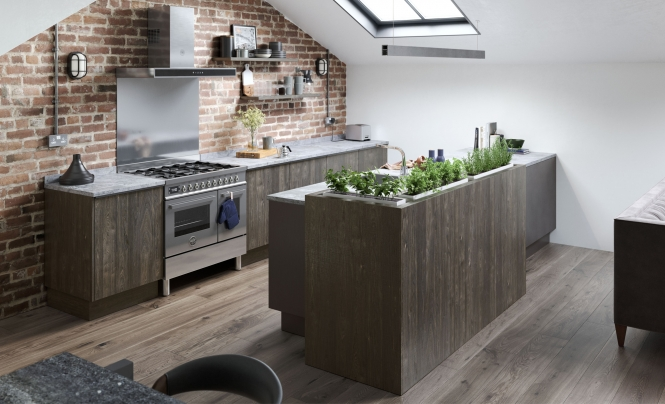 Modern Contemporary Rezana Kitchen in Stained Carbon Oak & Ferro Painted Iron