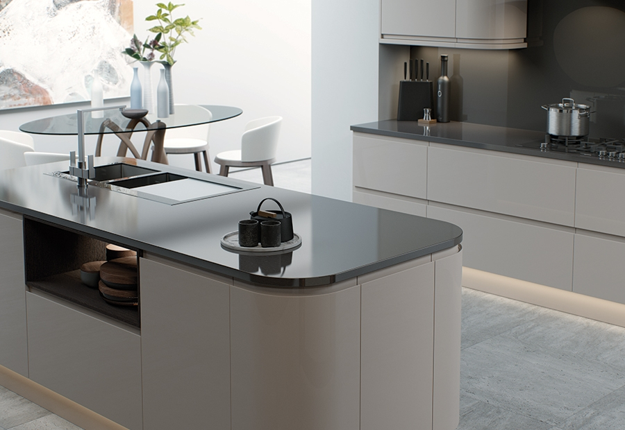Modern Contemporary Strada Gloss Curved Kitchen Island Unit in Cashmere