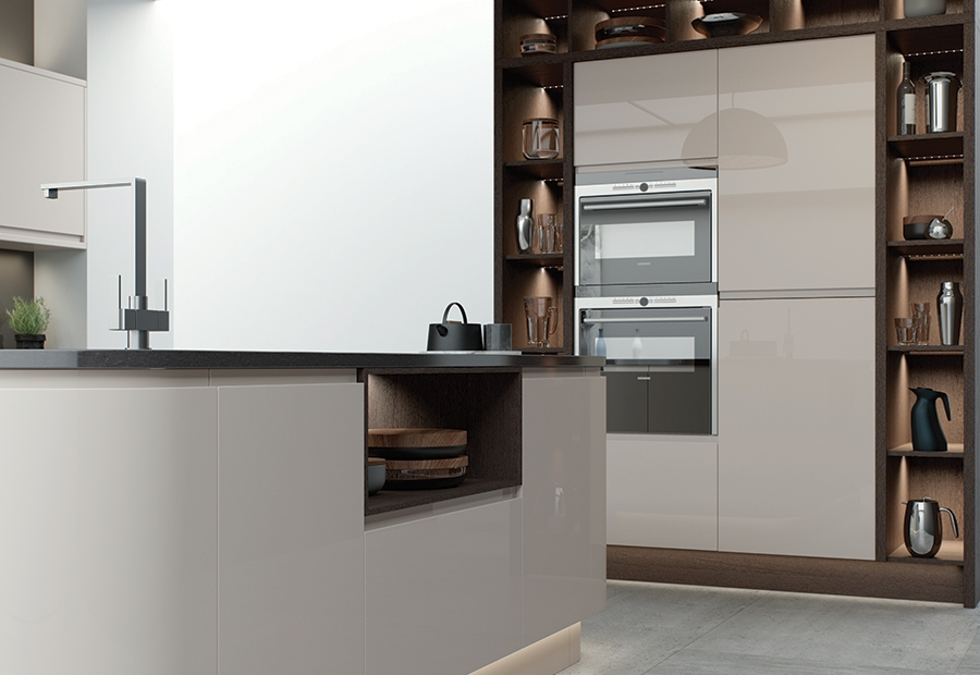 Modern Contemporary Strada Gloss Cashmere Kitchen Featuring Open Shelving