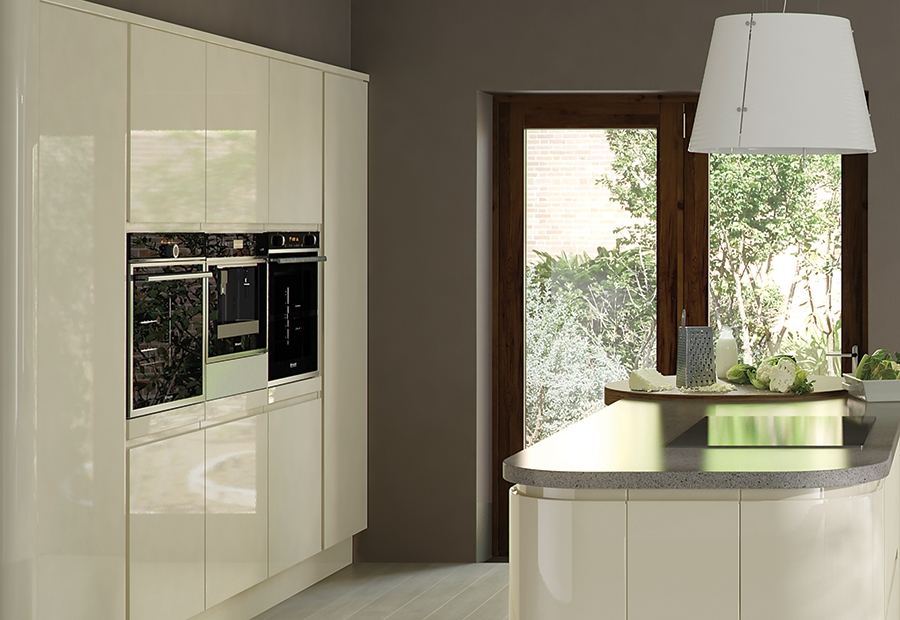 Modern Contemporary Strada Gloss Kitchen Wall Units in Ivory