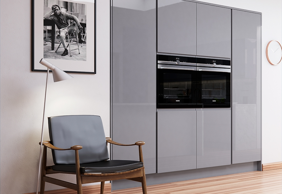 Strada gloss light grey dust grey kitchen stori for White gloss tall kitchen units