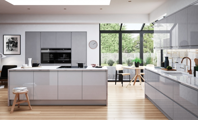 Strada Gloss Handless Range from Kitchen Stori in Light Grey & Dust Grey