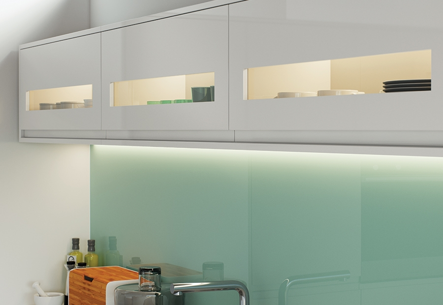 Modern Contemporary Strada Gloss Light Grey Kitchen Featuring Glazed Cabinets