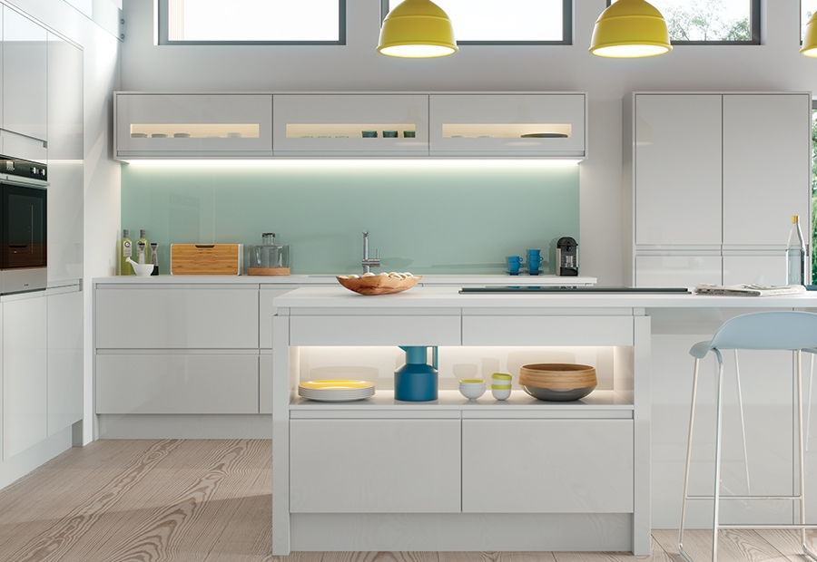 Modern Contemporary Strada Gloss Kitchen Island Unit in Light Grey