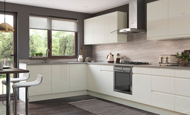 Strada Gloss Handless Kitchen in Porcelain