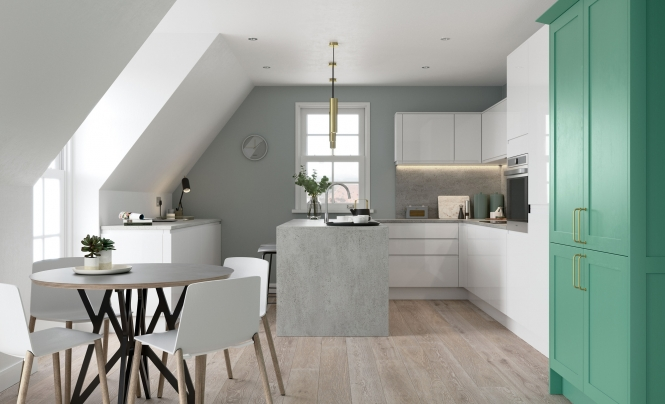 Modern Contemporary Strada Gloss White Kitchen Featuring Aldana Shaker in Painted Viridian