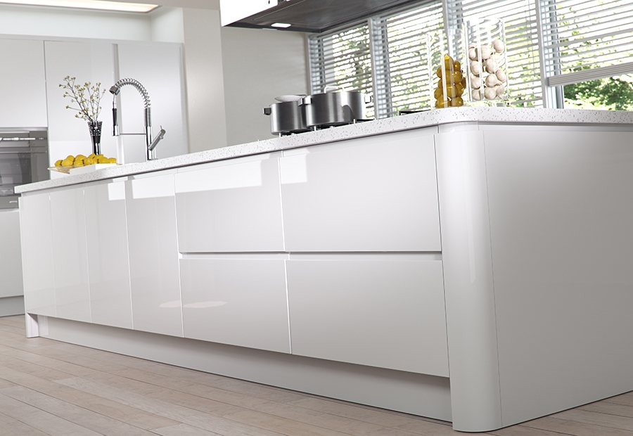 Modern Contemporary Strada Gloss Kitchen Island Unit in White