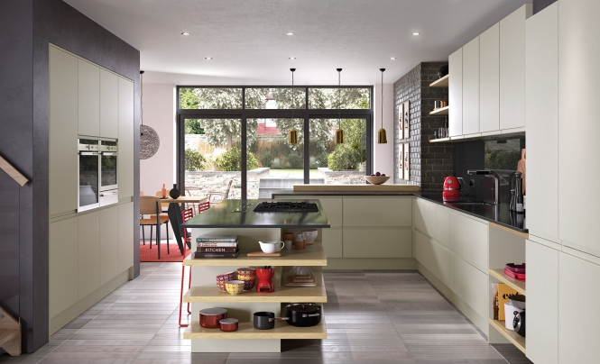 Strada Matte Contemporary Kitchen in Painted Mussel