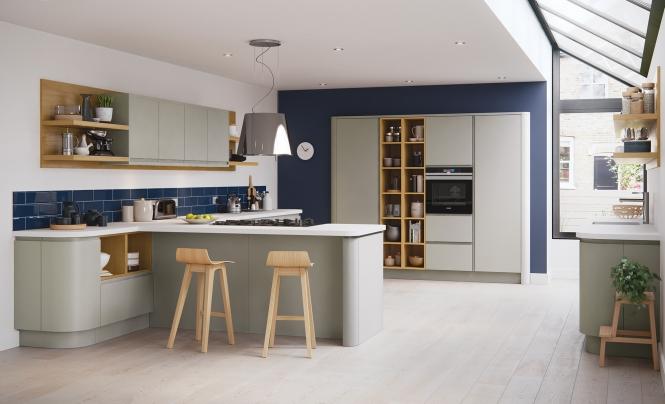 White Kitchen Black Handles Timber Bench