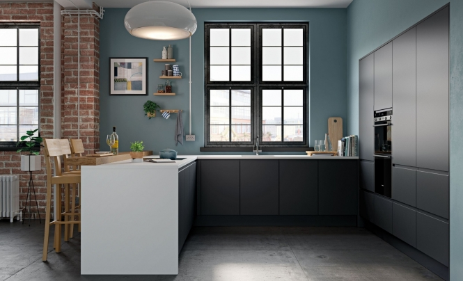 Strada Matte Handless Kitchen Graphite
