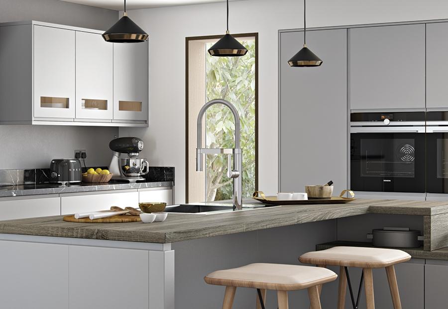 Strada Matte Contemporary Light Grey Kitchen Stori - Grey kitchen lights