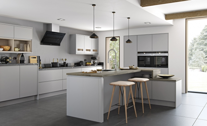 Handleless kitchen doors strada matte porcelain uform for Light grey modern kitchen