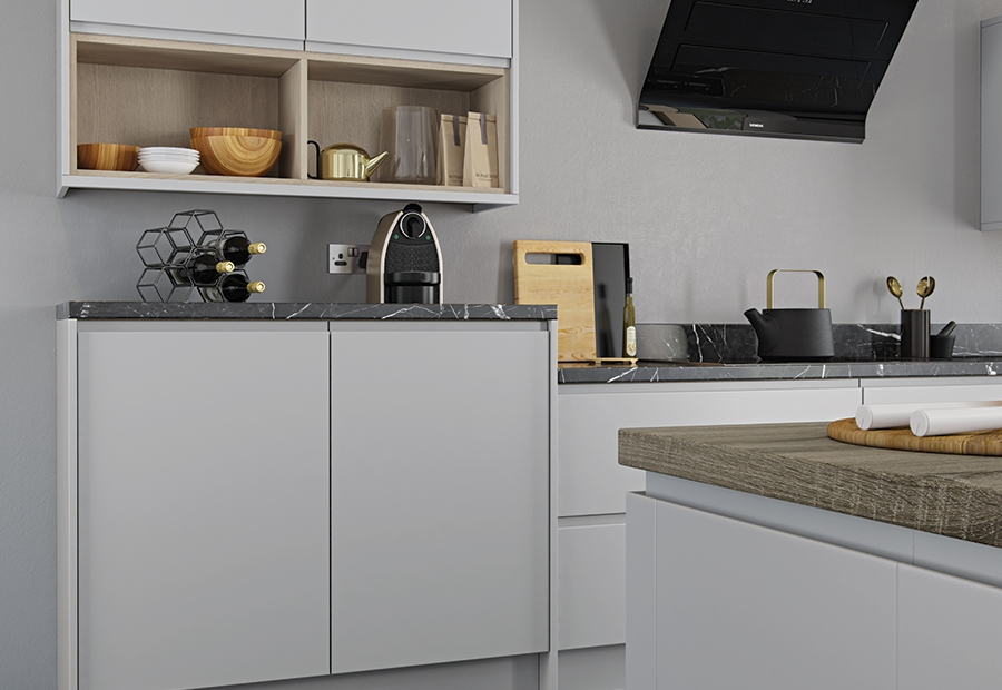 Modern Contemporary Strada Matte Kitchen Units With Open Shelving in Painted Light Grey
