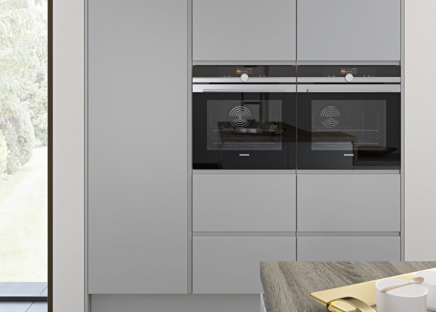 Strada matte contemporary light grey kitchen stori for Grey kitchen wall units