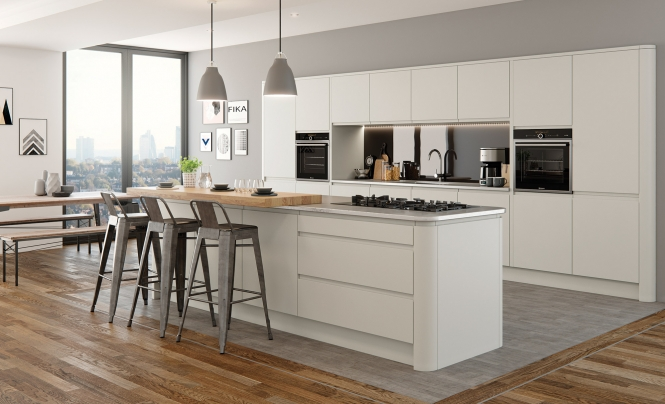 Modern Contemporary Strada Matte Kitchen In a Painted Porcelain Colour