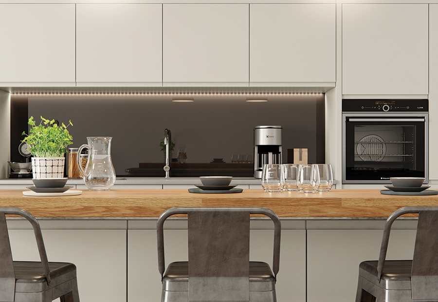 Modern Contemporary Strada Matte Kitchen Island and Wall Units in Painted Porcelain