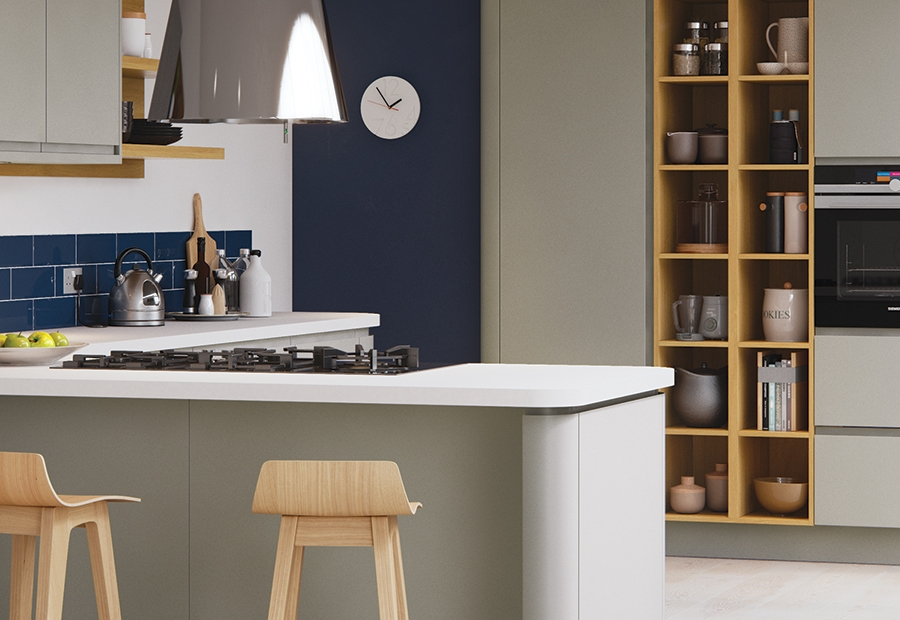 Modern Contemporary Strada Matte Kitchen In Painted Stone With Open Shelving