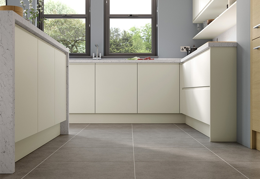 Strada Matte Handless Floor Units in Porcelain