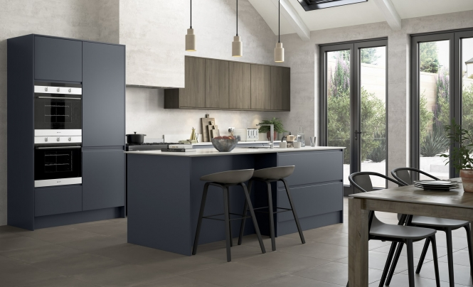 Modern Contemporary Strada Matte Kitchen Slate Blue with Rezana Stained Expresso
