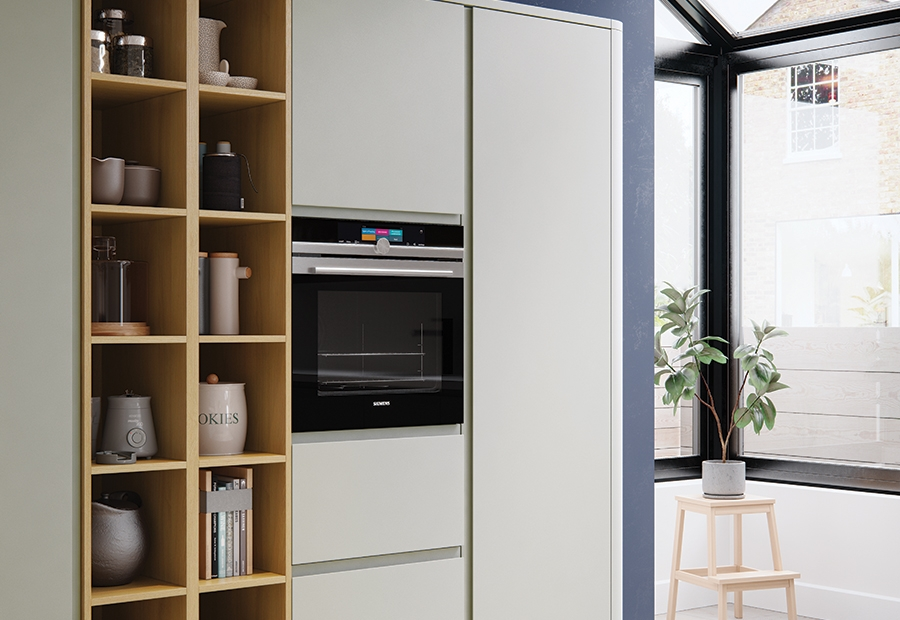 Modern Contemporary Strada Matte Stone Painted Kitchen featuring Open Shelving Wall Units