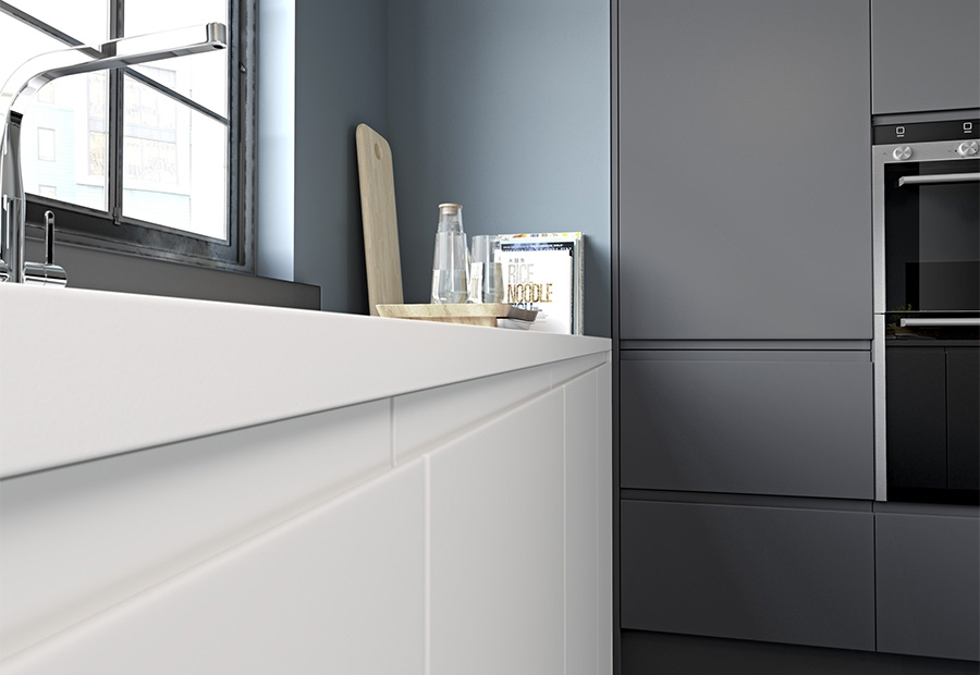 Strada Matte White & Graphite Handless Drawers