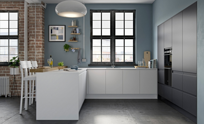 Strada Matte Handless Kitchen in White & Graphite