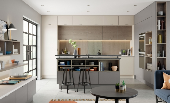 Modern Contemporary Tavola Kitchen in Painted Shell, Dust Grey & Weathered Silver Oak