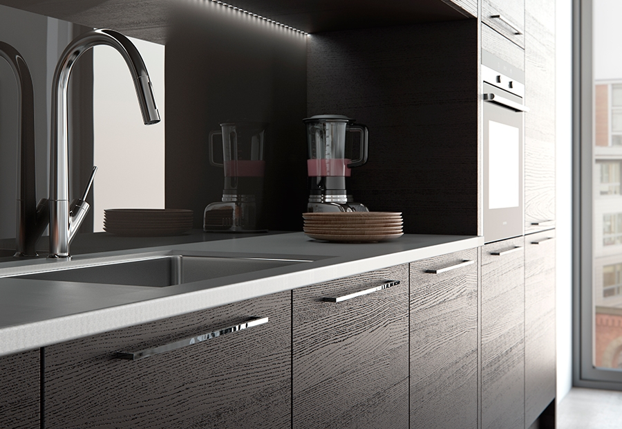 Modern Contemporary Tavola Stained Hacienda Black Kitchen Cabinets