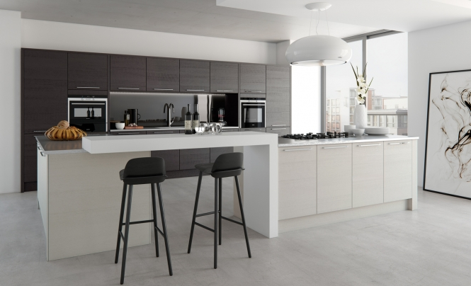 Modern Contemporary Tavola Kitchen in Stained Hacienda Black and Painted Light Grey