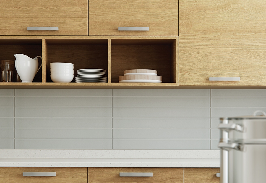 Modern Contemporary Tavola Kitchen Cabinets in Stained Light Oak