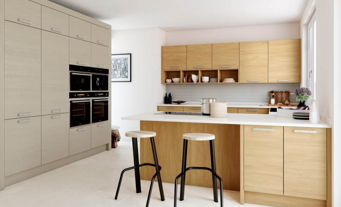 Modern Contemporary Tavola Kitchen in Stained Light Oak and Painted Light Grey