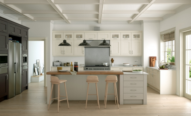Modern Contemporary Wakefield Painted Kitchen in Ivory, Stone & Lava