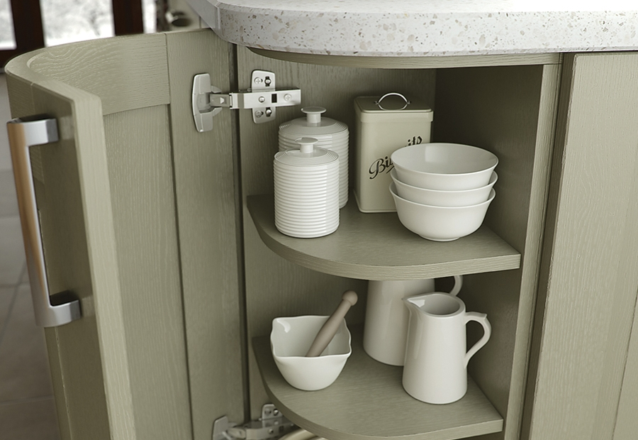 Classic Traditional Windsor Olive Painted Kitchen Featuring Curved Doors
