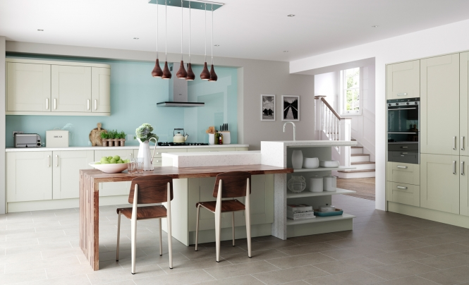 Modern Contemporary Windsor Shaker Kitchen In Painted Mussel