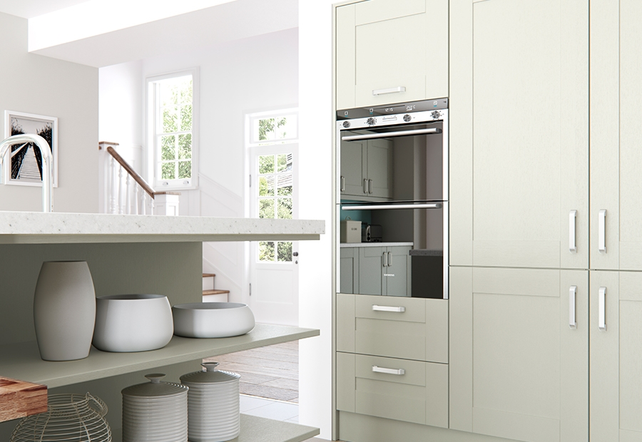 Modern Contemporary Windsor Shaker Kitchen Shelves in Painted Mussel