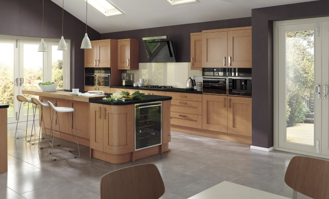 Windsor contemporary shaker mussel kitchen stori for Modern oak kitchen
