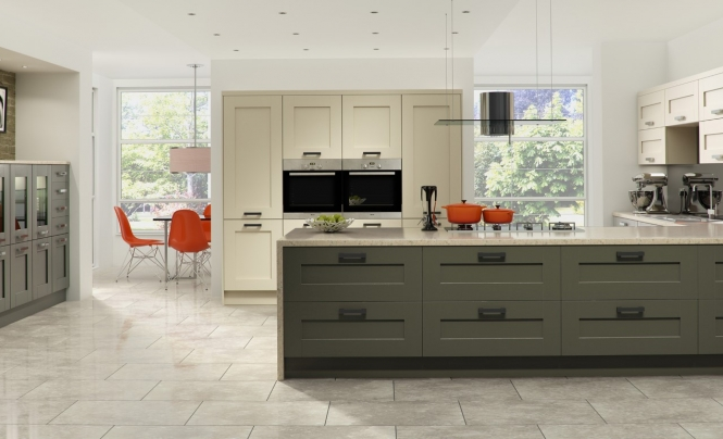 Modern Contemporary Windsor Shaker Kitchen In Painted Lava and Stone