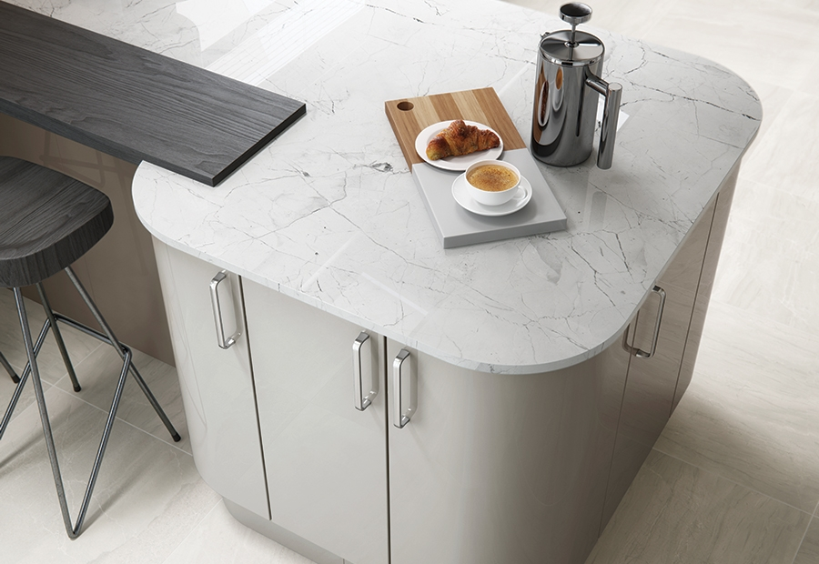 Modern Contemporary Zola Gloss Kitchen Featuring Curved Doors in a Cashmere Colour